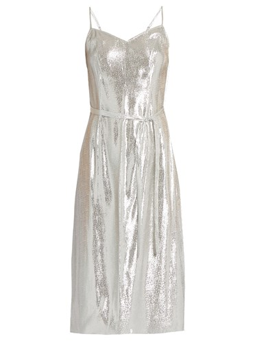 Sleeveless Lame Slip Dress Silver
