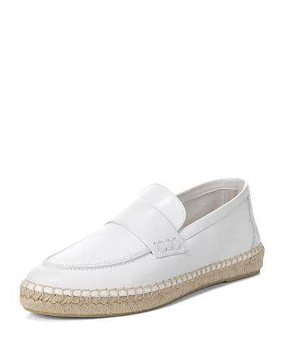 Vince Daria Leather Flat Espadrille Loafer White 3F4P7w9SQt