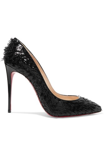 Christian Louboutin Pigalle Follies 100 Fringed Patent Leather Pumps Black lxARk
