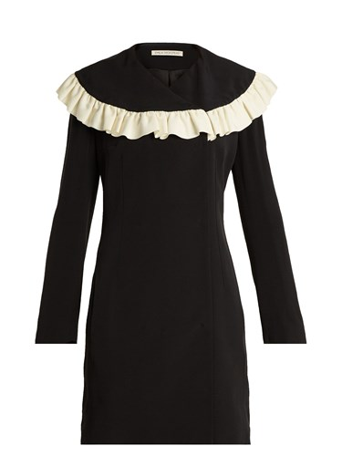 Emilia Wickstead Lisbet Ruffled Bib Crepe Cady Dress Black White hJ6zYsz