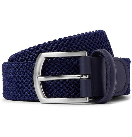 Anderson's 3.5Cm Navy Leather Trimmed Woven Elastic Belt Navy