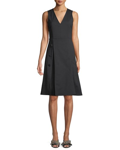 Derek Lam V Neck Sleeveless Fit And Flare Knee Length Dress W Button Detail Black X2ZrX