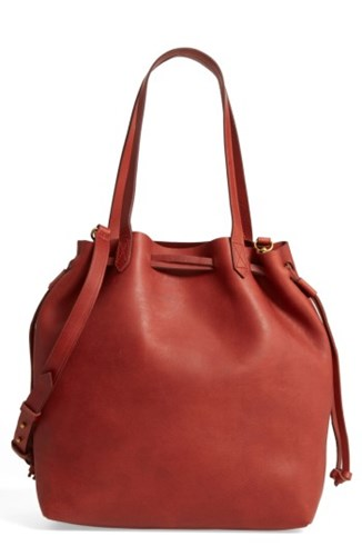 Madewell Women's Medium Transport Leather Bucket Bag Brown New Brown Standard xfcm6w