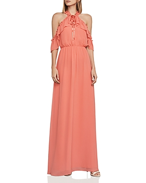 BCBGMAXAZRIA Tracie Cold Shoulder Gown Spiced Coral ER7jUX
