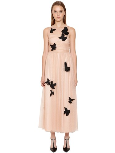 RED Valentino Embellished Swiss Dot Lace Dress Pink MfThC