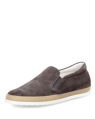 Tod's Suede Espadrille Slip On Sneaker Gray at2SNpaNfw
