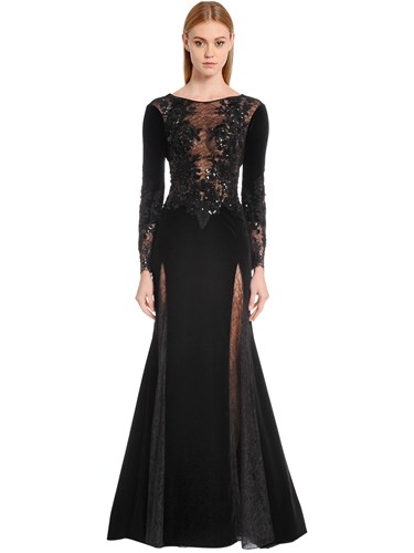 Zuhair Murad Embellished Velvet And Lace Gown Black so53mUu