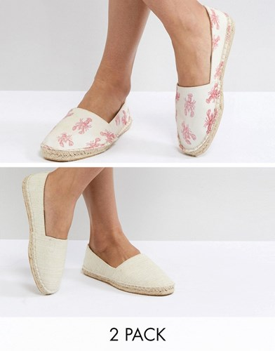 JALLY Two Pack Espadrilles - Stripe/taupe Asos 1tBEy8t