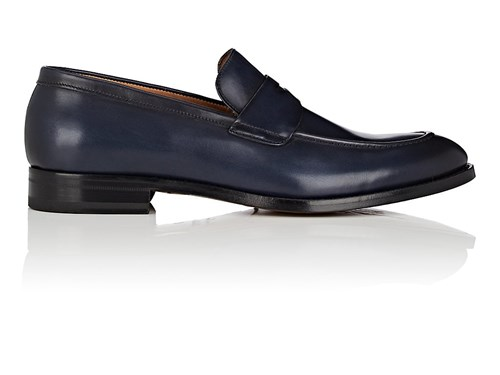 Antonio Maurizi Apron Toe Burnished Leather Penny Loafers Navy hygDoL