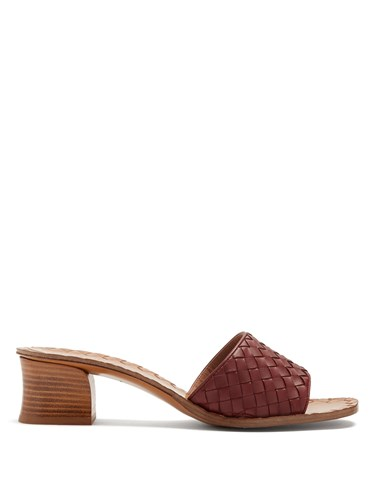 Bottega Veneta Intrecciato Leather Mules Burgundy wNrUxWGYW9
