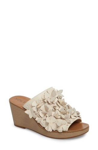 Society Eggshell Wedge Sole Cream Sandal Poppie YwZcq0d