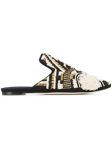 Sanayi 313 Embroidered Upper Mules Black fb87ACTHTC