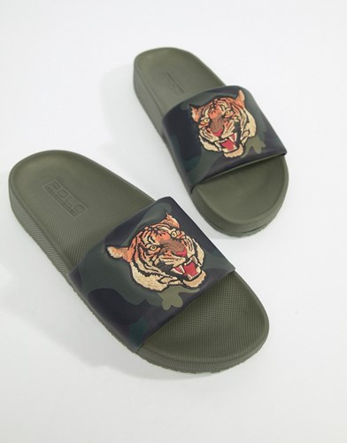 Polo Ralph Lauren Cayson Summer Sliders Tiger Camo Print In Green Olive Camo WNnp8qmN