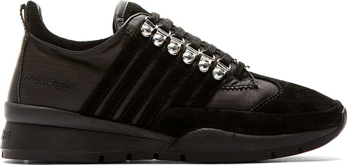 DSquared Black Suede And Hi Tech Textile Kick It Runners XsrfRmLewP