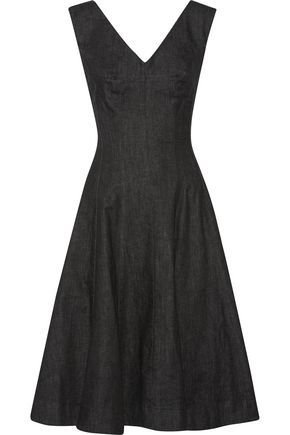 Norma Kamali Grace Pleated Denim Dress Black xSKbUc8T4