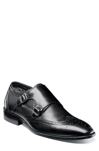 Stacy Adams Lavine Wingtip Monk Shoe Black Leather RyKzZFcd