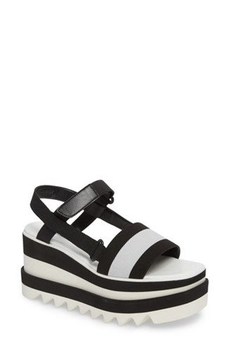 Stella McCartney Women's Stripe Platform Sandal Black White Sv2jIsw