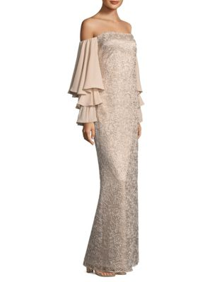 Laundry by Shelli Segal Off The Shoulder Floor Length Gown Nude kCL9cX