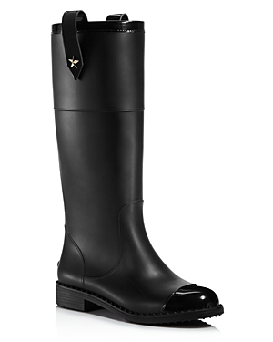 Jimmy Choo Edith Rubber And Leather Tall Boots Black 7hHDTL9X