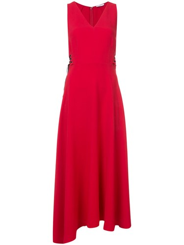 Tome Lateral Lace Up Detail Dress Women Silk Crepe 0 Red 9wP1dzEA1