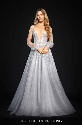 Hayley Paige Women's Lumi Embellished Long Sleeve Tulle Ballgown sFSRWCU3g