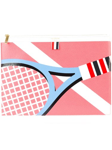 Thom Browne Racket Print Pouch Pink And Purple Vmehl4QRc