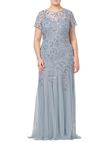 Adrianna Papell Plus Size Floral Beaded Godet Dress Blue Heather 5YawMfRiRN