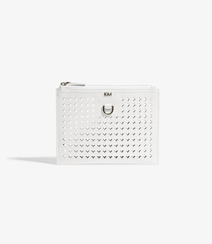 Karen Millen Perforated Pouch Bag White vV6uzopVI5