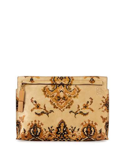 Loewe Suede And Leather Tapestry T Pouch Yellow 3e0C3