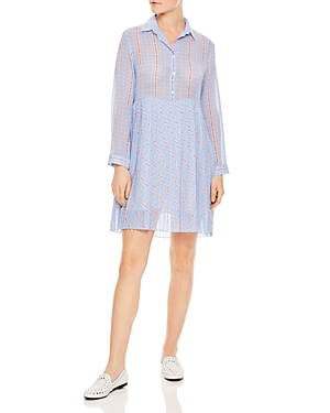 Sandro Revolver Polka Dot And Graphic Lettering Dress Sky Blue cgC2w