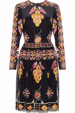 Mikael Aghal Embroidered Organza Dress Black ZU6g08mw
