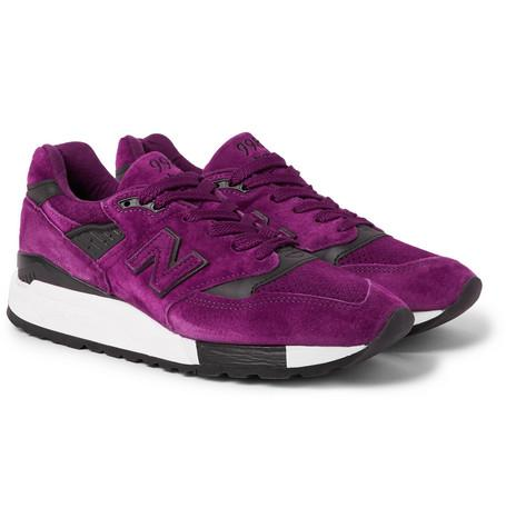 New Balance 998 Leather Trimmed Suede And Mesh Snearkers Purple MxYH69OR