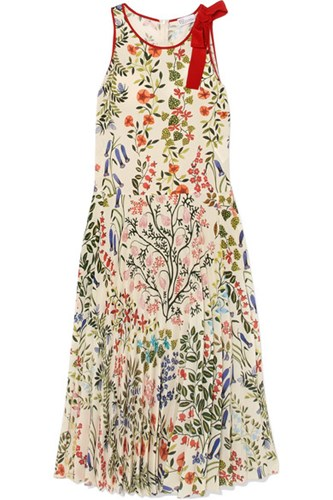 RED Valentino Redvalentino Bow Embellished Pleated Printed Crepe Dress Cream 4nAVttL