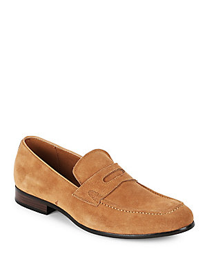 Saks Fifth Avenue Leather Penny Loafers Taupe 6iIyE