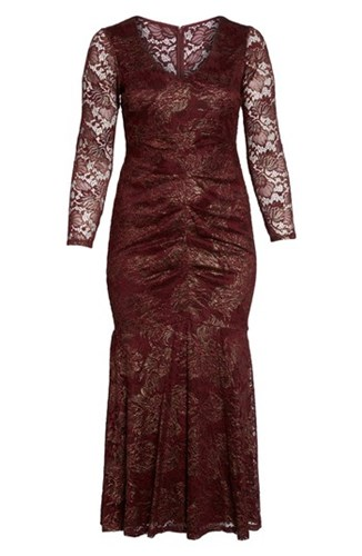 Marina Plus Size Women's Foil Lace Ruched Mermaid Gown Burgundy wgP85M15