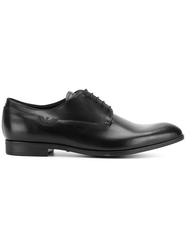 Emporio Armani Classic Derby Shoes Leather Rubber Black ud5H2