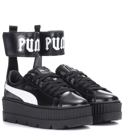 Fenty Puma by Rihanna Ankle Strap Leather Sneakers Black XOTPK3G
