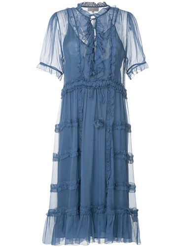Lee Mathews Hayley Crinkle Georgette Dress Blue fYmB9moAeX