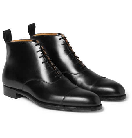 George Cleverley William Cap Toe Leather Boots Black J4aieDteWc