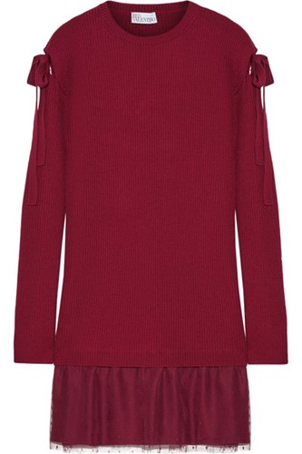 RED Valentino Redvalentino Ribbed Wool And Point D'esprit Tulle Mini Dress Merlot 2pRkkE