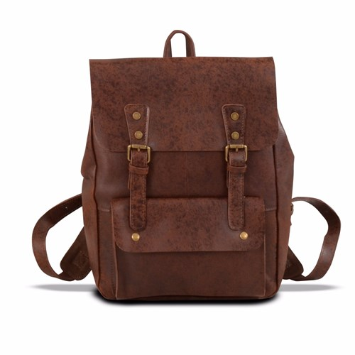 EAZO Genuine Leather Military Style Backpack In Brown l249SzoVV