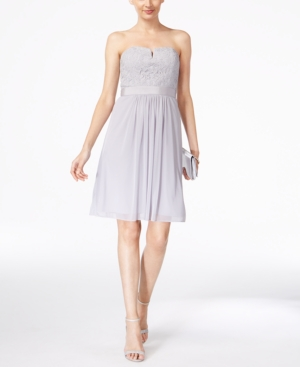 Adrianna Papell Strapless Lace Dress Silver trEWuoR
