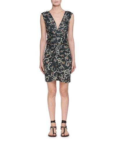 Etoile Isabel Marant Carla Plunging Sleeveless Printed Satin Dress Black RJaCgaNI
