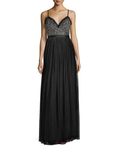 Needle & Thread Andromeda Sweetheart Embellished Bodice Evening Gown Black zslYgU
