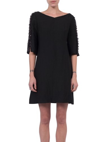 French Connection Dominica Cluster Sleeve Dress Black XvV9F