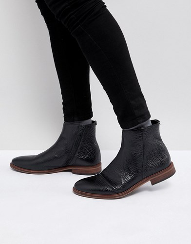 Asos Chelsea Boots In Black Leather With Texture And Zip Detail Black NgAYxnVa