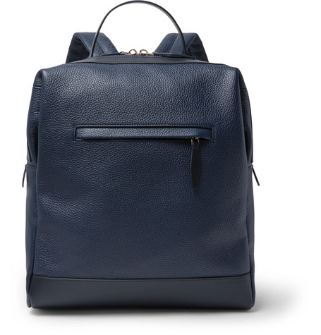 Globe-trotter Propeller Pebble Grain Leather Backpack Navy hXuQWUm6A
