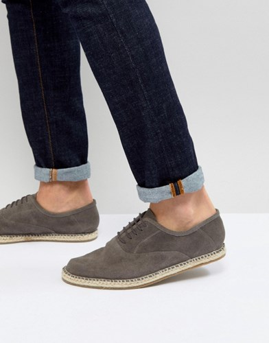 Frank Wright Lace Up Espadrilles In Grey Suede ADTpsEl3