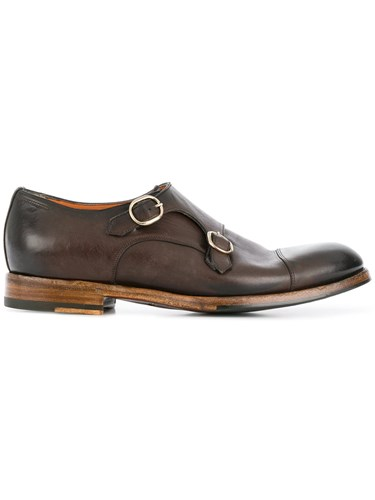 Santoni Distressed Monk Shoes Brown LBGep1fcg
