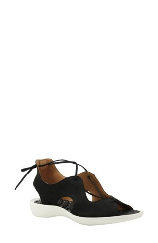 L'Amour Des Pieds Women's Nesimah Lace Up Sandal Black Nubuck Leather UOqHtCsBB